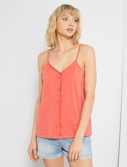 Camiseta sin mangas con volantes                             rosa naranja