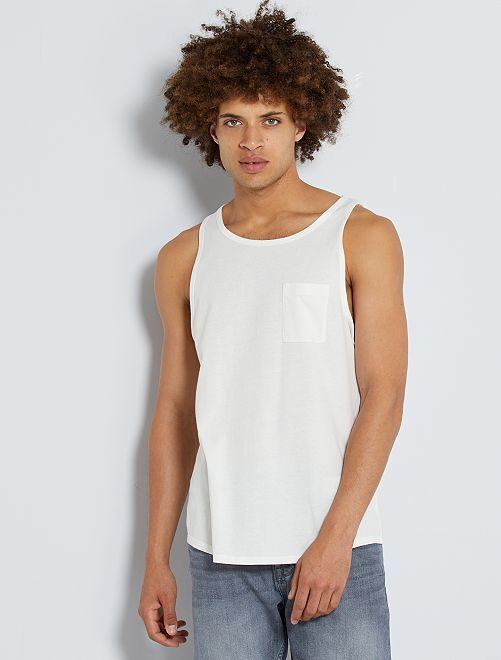Camiseta sin mangas de algodón de efecto descolorido                                         blanco nieve