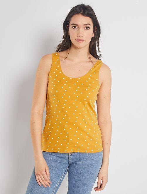 Camiseta sin mangas de algodón elástico                                                                                         AMARILLO