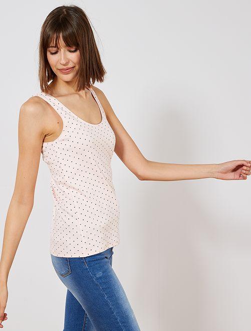 Camiseta sin mangas de algodón elástico                                                                                                                                                     ROSA