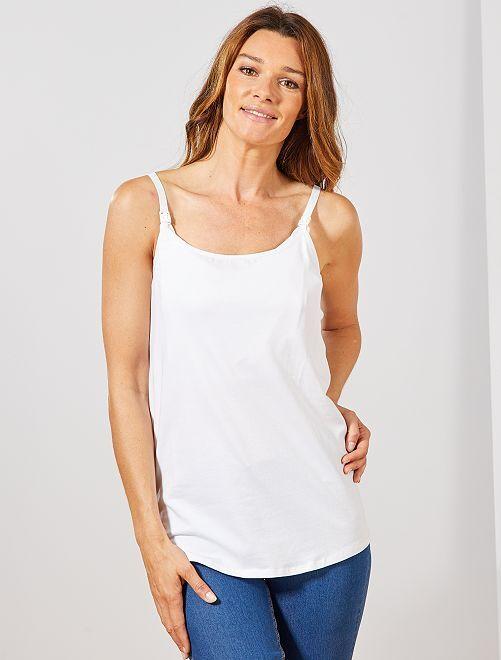 Camiseta sin mangas de algodón orgánico lactancia                                         blanco