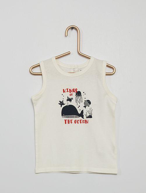 Camiseta sin mangas de algodón puro                                                     BLANCO