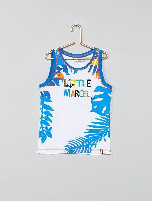 Camiseta sin mangas de algodón puro 'Little Marcel'                                         blanco/azul Chico