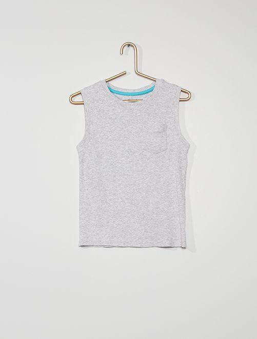 Camiseta sin mangas de canalé                                         GRIS
