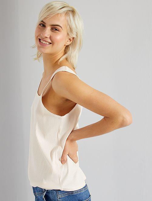 Camiseta sin mangas de canalé                                                                             ROSA