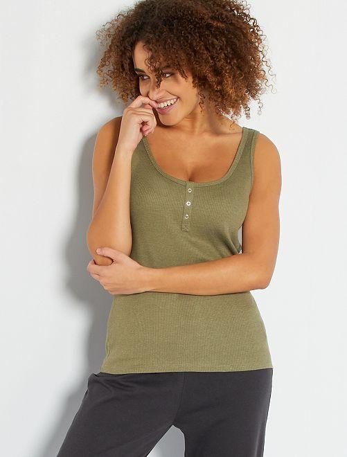 Camiseta sin mangas de pijama                                                                                         verde liquen