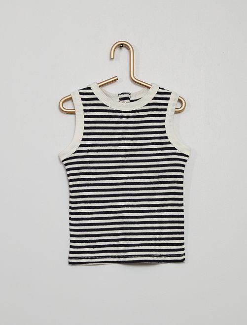 Camiseta sin mangas de punto de canalé                                                                                         a rayas azul