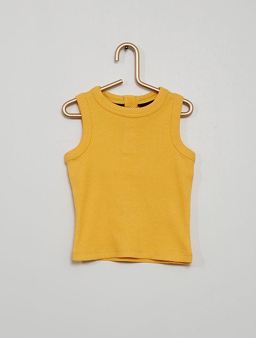 Camiseta sin mangas de punto de canalé                                                                                         amarillo dorado