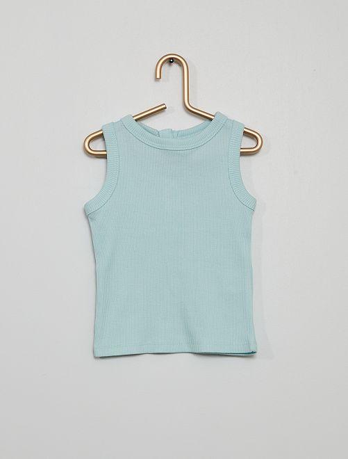 Camiseta sin mangas de punto de canalé                                                                                         azul claro