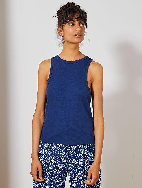 Camiseta sin mangas de punto de canalé                                                         azul oscuro Mujer talla 34 a 48