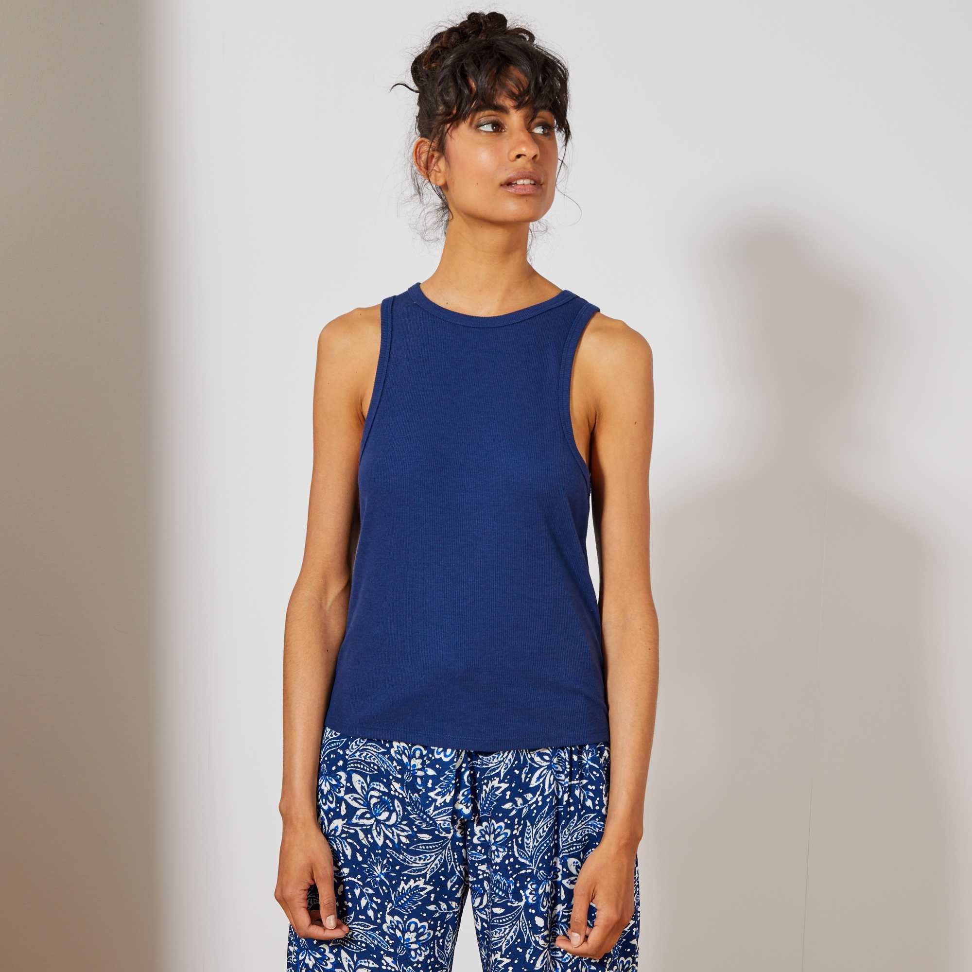 6502bbd31 Camiseta sin mangas de punto de canalé Mujer talla 34 a 48 - azul ...