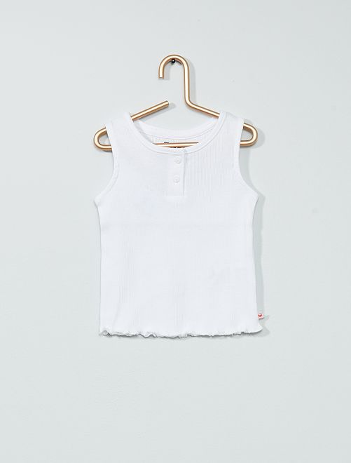 Camiseta sin mangas de punto de canalé                                                     blanco
