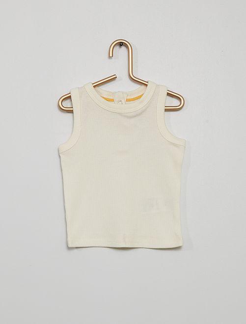 Camiseta sin mangas de punto de canalé                                                                                         blanco nieve