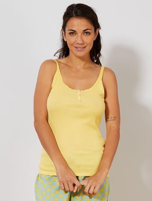 Camiseta sin mangas de punto de canalé con acabado de encaje                                                                 AMARILLO Lencería de la s a la xxl