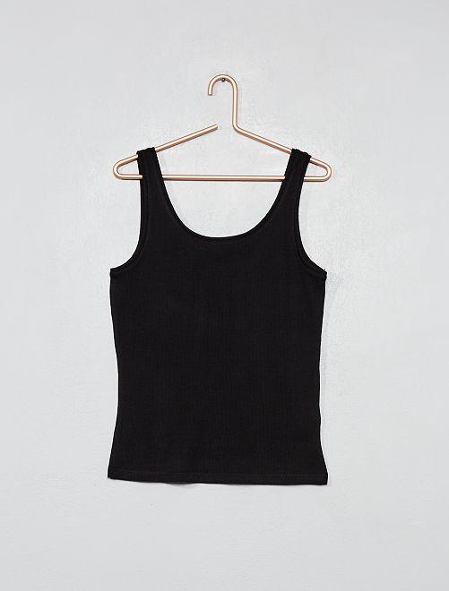 Camiseta sin mangas de punto de canalé                             negro Joven niña