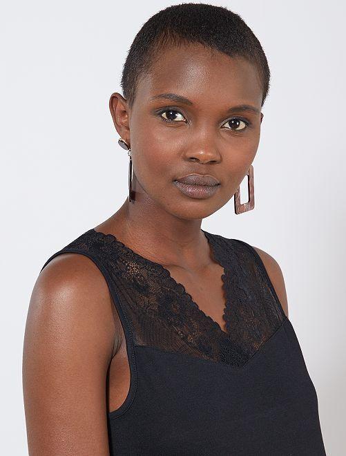 Camiseta sin mangas de punto y encaje elástico 'JDY'                                                     negro Mujer talla 34 a 48