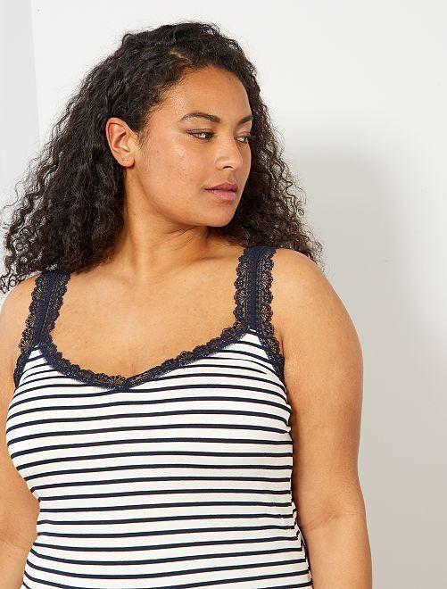 Camiseta sin mangas de viscosa elástica con encaje                                                                             BLANCO