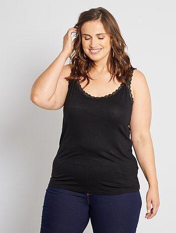 Camiseta sin mangas de viscosa elástica con encaje - Kiabi