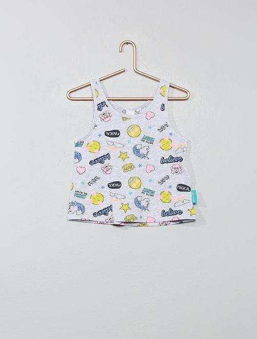 Camiseta sin mangas 'Emoji'                             GRIS Chica