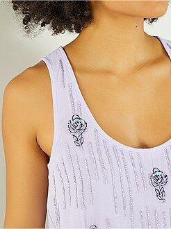 Mujer - Camiseta sin mangas en dos materiales con pedrería - Kiabi