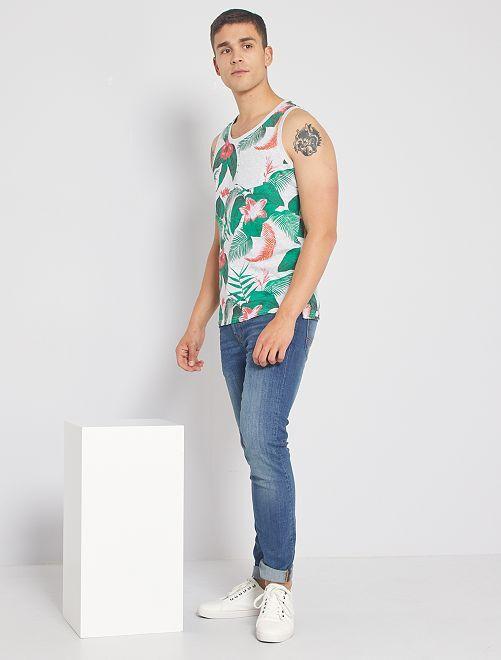 Camiseta sin mangas estampada                                         blanco