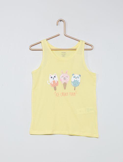 Camiseta sin mangas estampada de algodón orgánico                                                                             AMARILLO