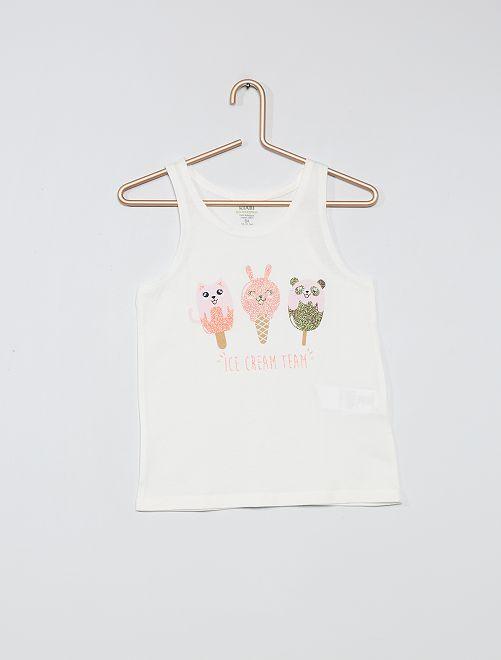 Camiseta sin mangas estampada de algodón orgánico                                                                             BEIGE