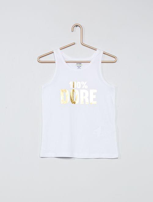 Camiseta sin mangas estampada de algodón orgánico                                                                                         BLANCO