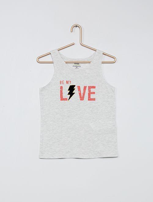 Camiseta sin mangas estampada de algodón orgánico                     GRIS