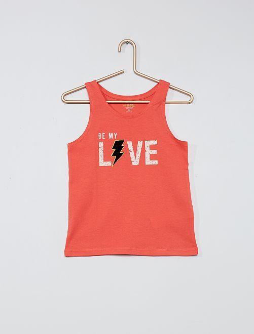 Camiseta sin mangas estampada de algodón orgánico                                                                             ROSA