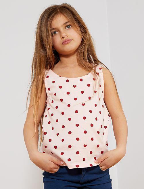 Camiseta sin mangas estampada 'lunares y corazones'                                                                                                                 ROSA Chica