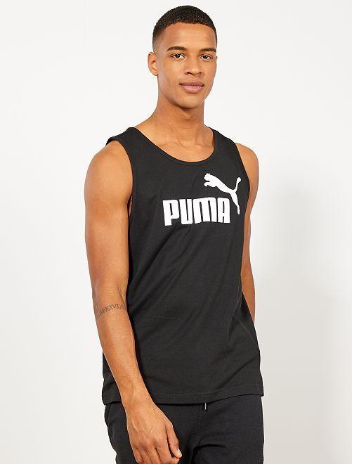 Camiseta sin mangas estampada 'Puma'                                                     NEGRO Hombre