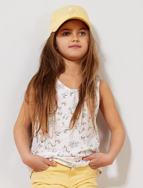 Camiseta sin mangas estampada 'unicornios'                                                                                                                 BEIGE Chica