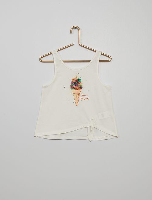 Camiseta sin mangas 'ice cream'                                                                                         BLANCO