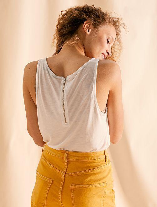 Camiseta sin mangas vaporosa con cremallera trasera                                             blanco nieve Mujer talla 34 a 48
