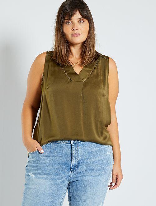 Camiseta sin mangas vaporosa de dos materiales                                                                                                                                         castaño