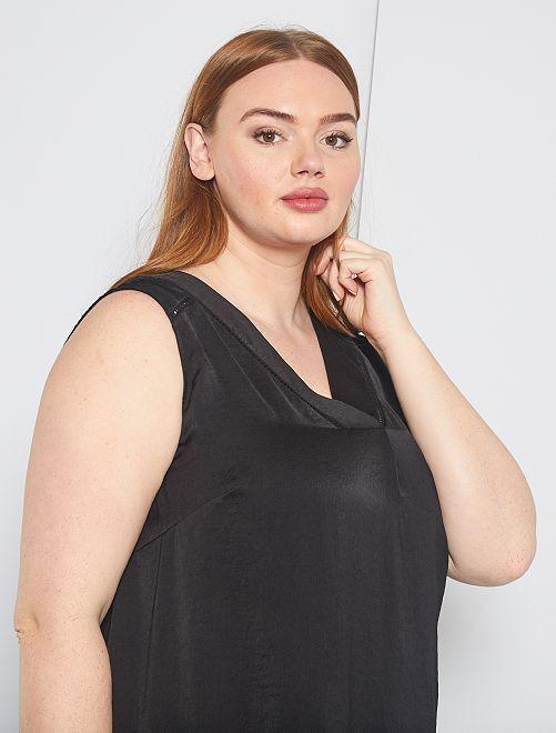 Camiseta sin mangas vaporosa de dos materiales                                                                                         negro