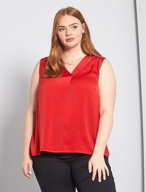 Camiseta sin mangas vaporosa de dos materiales                                                                                         rojo bombero