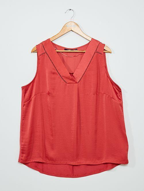 Camiseta sin mangas vaporosa de dos materiales                                                                                                                                         rojo granate