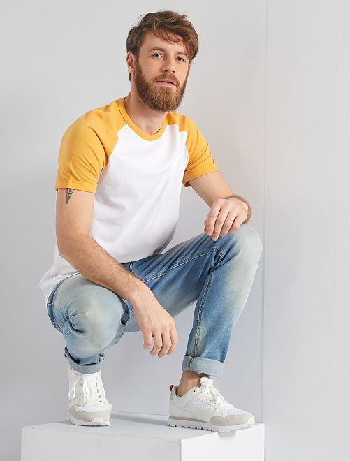 Camiseta slim bicolor 'Eco-concepción'                                                                 BLANCO