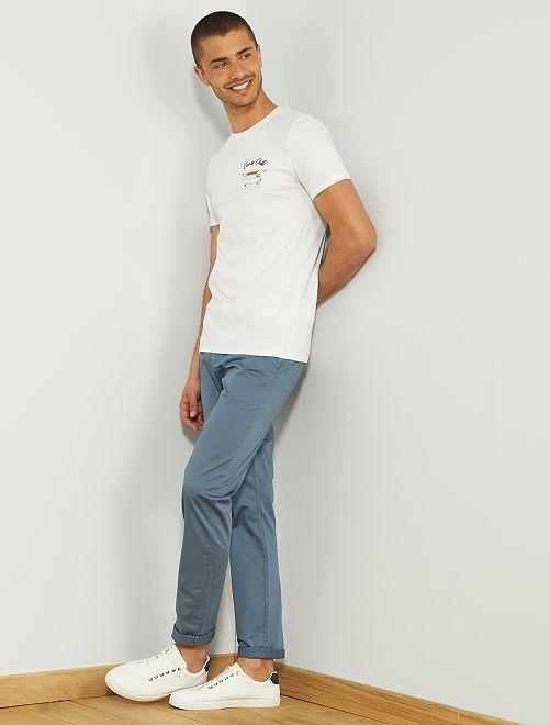 Camiseta slim bordada                                                                             BLANCO Hombre