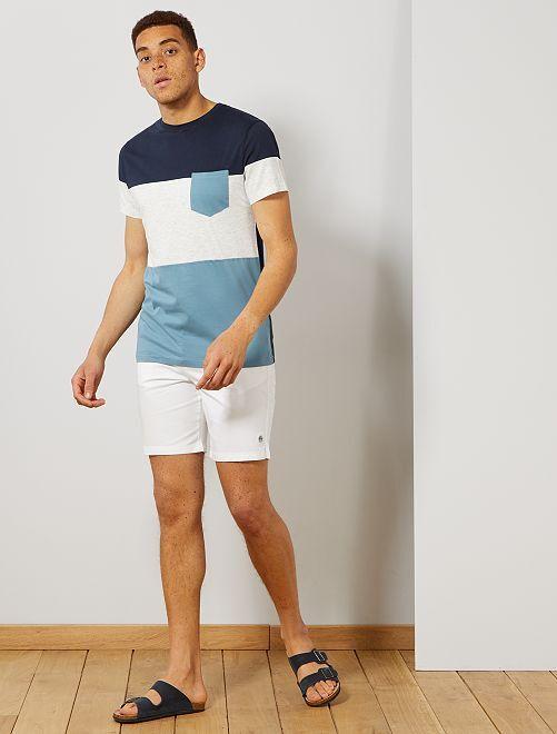Camiseta slim colorblock                     azul gris