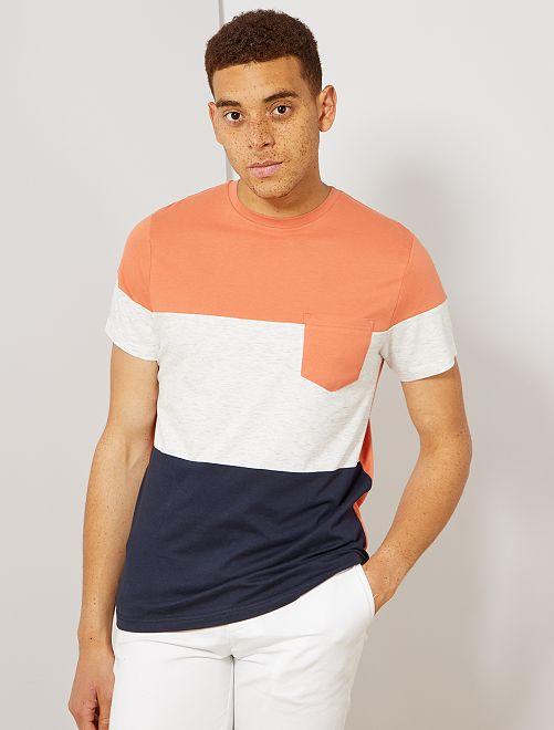 Camiseta slim colorblock                                                     azul Hombre