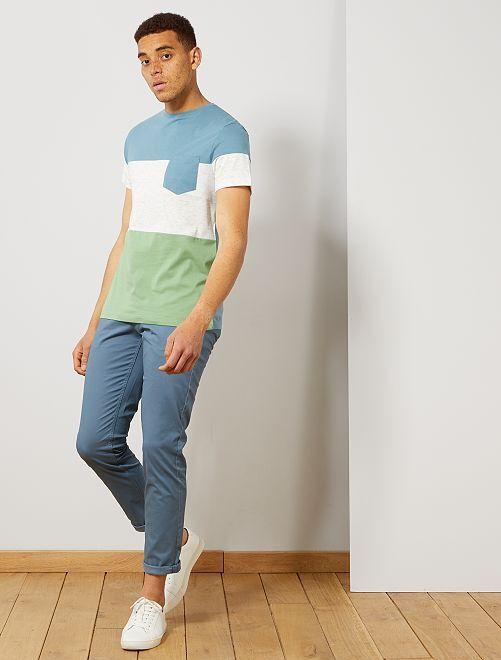 Camiseta slim colorblock                                                     VERDE Hombre