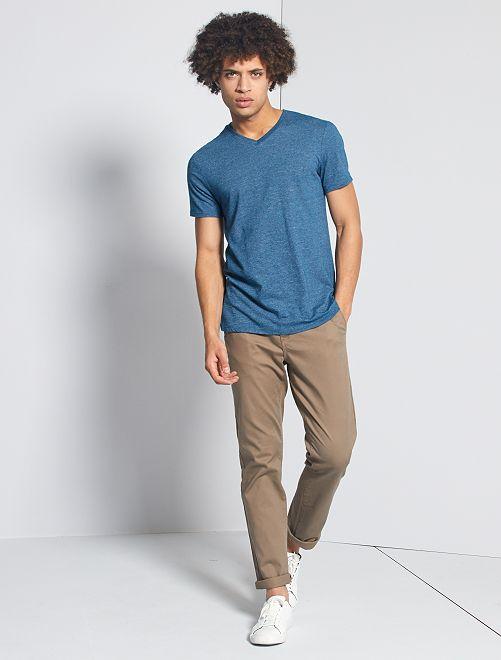 Camiseta slim con cuello de pico eco-concepción                                                         azul poseidon