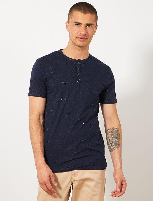 Camiseta slim con cuello panadero eco-concepción                                                                             AZUL