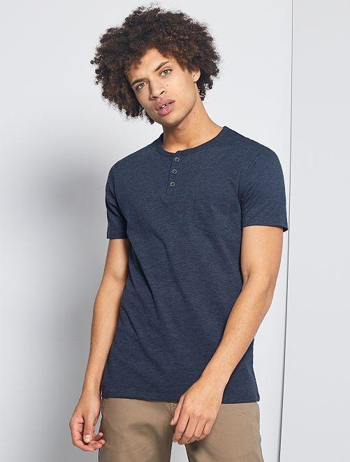 Camiseta slim con cuello panadero 'eco-concepción'                                                                             AZUL