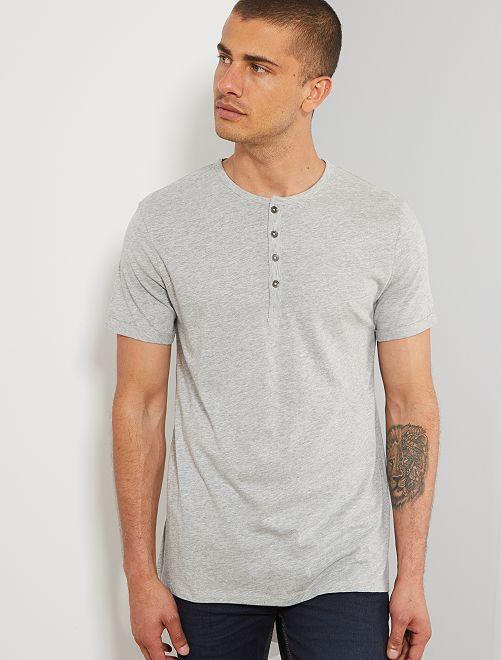 Camiseta slim con cuello panadero eco-concepción                                                                             GRIS Hombre