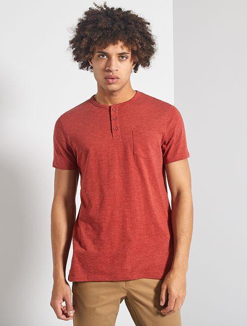 Camiseta slim con cuello panadero 'eco-concepción'                                                                 ROJO