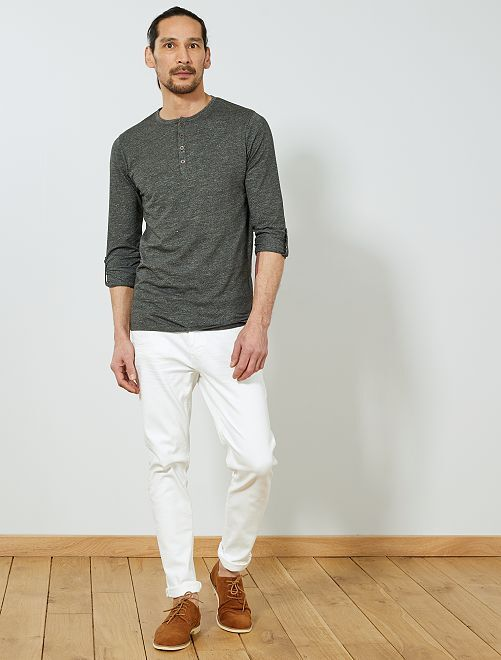 Camiseta slim con cuello panadero                                         GRIS Hombre